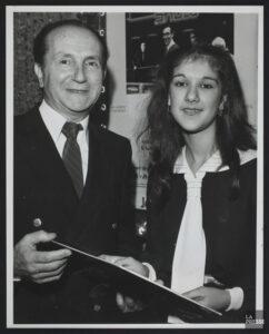Eddy Marnay, Céline Dion (Source: Bibliothèque et Archives nationales du Québec, BAnQ Vieux-Montréal, Fonds La Presse, 06M,P833,S2,D1619, P.H. Talbot)