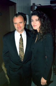 Celine Dion and Phil Collins. (Photo by Pool 6500/PONOPRESSE/Gamma-Rapho via Getty Images)