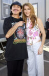 Carlos Santana and Celine Dion during Super Bowl XXXVII – Backstage at Qualcomm Stadium in San Diego, California, United States. ***Exclusive*** (Photo by KMazur/WireImage)