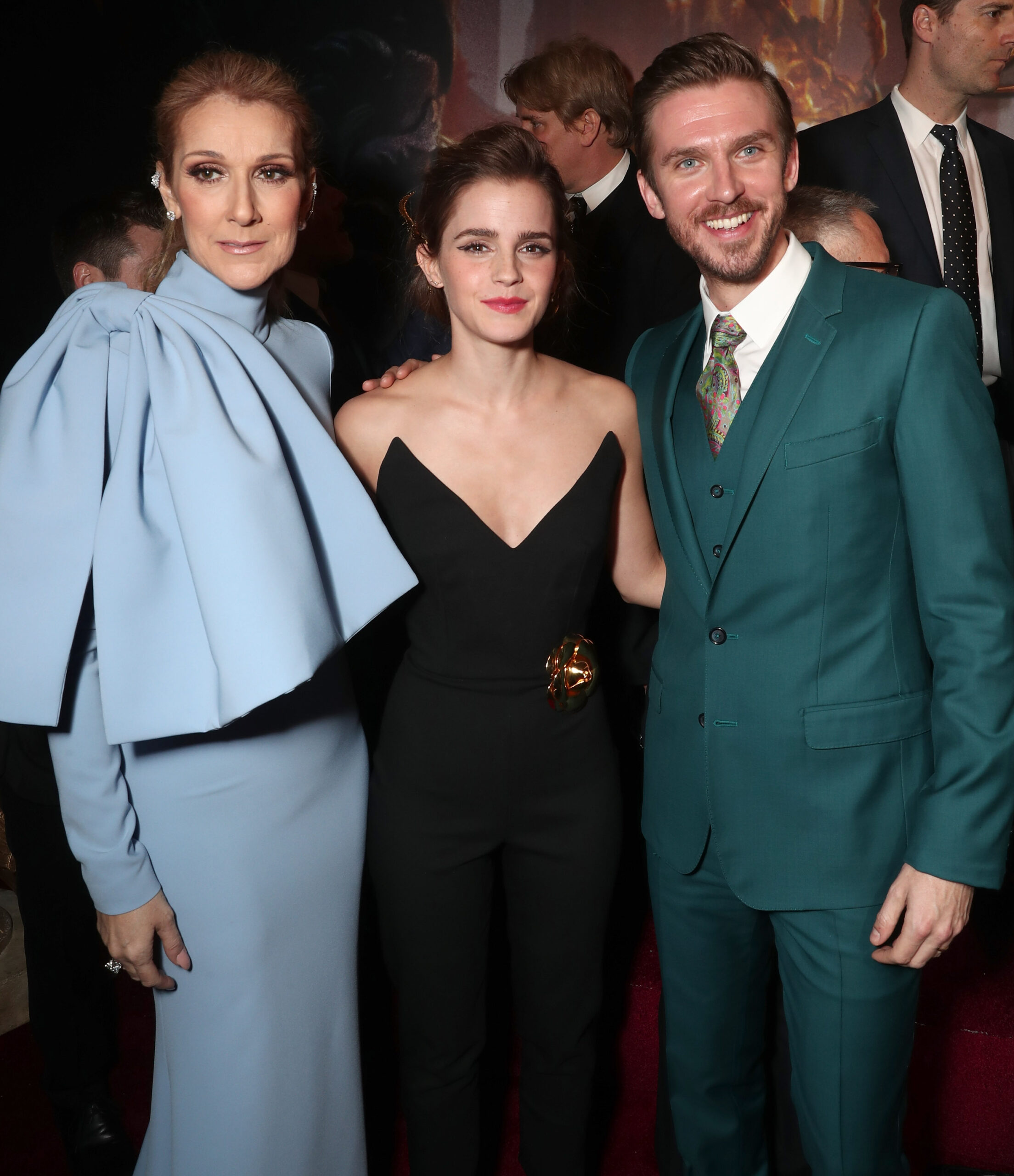 Celine Dion, Emma Watson, Dan Stevens (Photo by Todd Williamson/Getty Images)