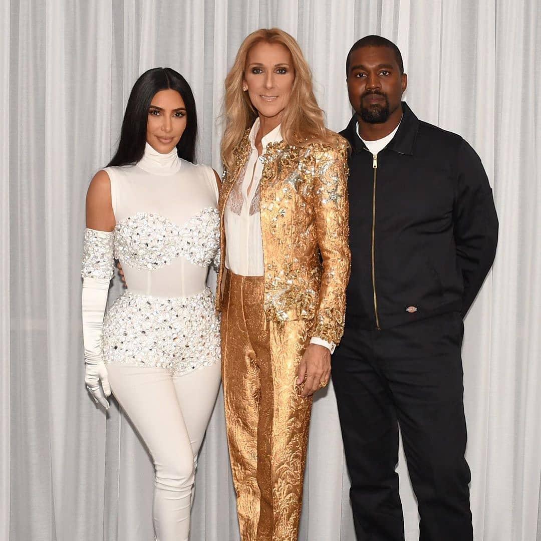 Kim Kardashian, Céline Dion, Kanye West (Photo: Cashman)