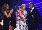 Sharon Stone,    Céline Dion,    Andrea Bocelli,    Virginia Bocelli (June 12, 2015 - Source: Ethan Miller/Getty Images North America)