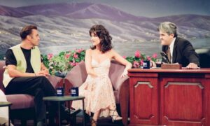THE TONIGHT SHOW WITH JAY LENO -- Episode 282 -- Pictured: (l-r) Musical guests Clive Griffin, Celine Dion during an interview with host Jay Leno on August 10, 1993-- (Photo by: Margaret Norton/NBCU Photo Bank/NBCUniversal via Getty Images via Getty Images)