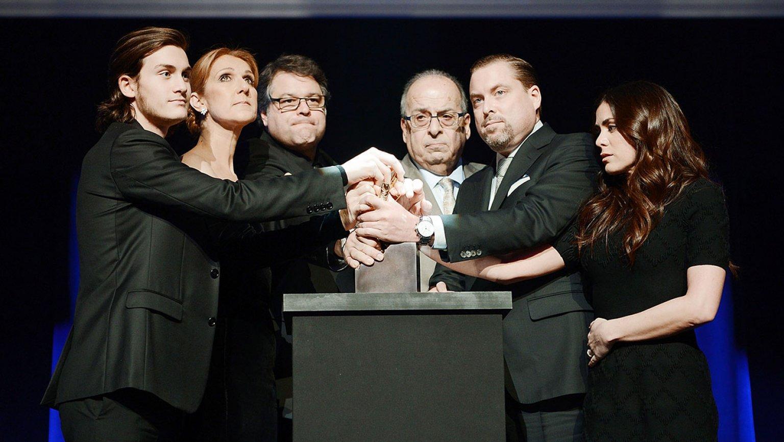 René-Charles Angélil, Céline Dion, Patrick Angélil, Jean-Pierre Angélil, Anne-Marie Angélil (Source: Denise Truscello/Caesars Palace via Getty Images)