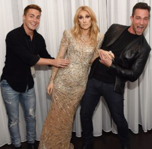 Colton Haynes, Céline Dion, Jeff Leatham (Photo: Cashman)