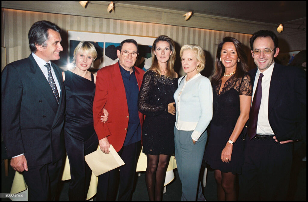 Gilbert Coullier, Candice Patou, Robert Hossein, Celine Dion, Sylvie Vartan, Nicole Coullier (Photo by Bertrand Rindoff Petroff/Getty Images)