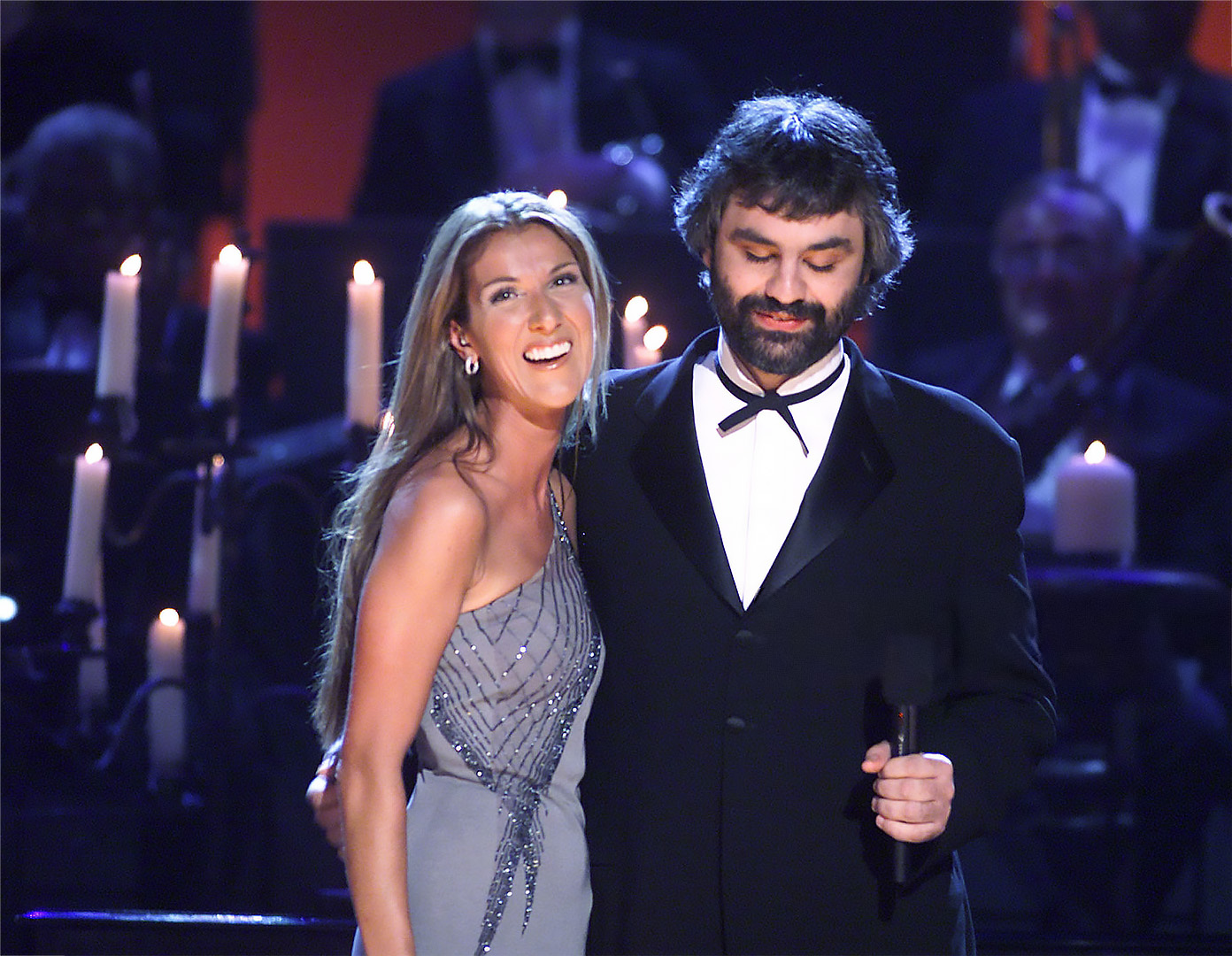 Céline Dion, Andrea Bocelli (© Photo by Frank Micelotta/ImageDirect/Getty Imabes)
