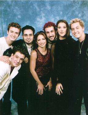 *NSYNC (JC Chasez, Justin Timberlake, Chris Kirkpatrick, Joey Fatone, Lance Bass ), Gloria Estefan, Celine Dion