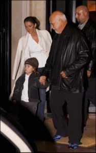 Céline Dion, her husband Rene Angelil and her son Rene Charles Angelil leaving the Hotel George V. (© LEBON/GAMMA)