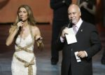 Céline Dion & Rene Angelil give away prizes to members of the audience at the end of the 500th performance of A New Day..., in Las Vegas. (© Ethan Miller/Getty Images Entertainment)