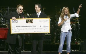 Elton John, Jerry Seinfeld, Céline Dion (© Photo by Ethan Miller/Getty Images)