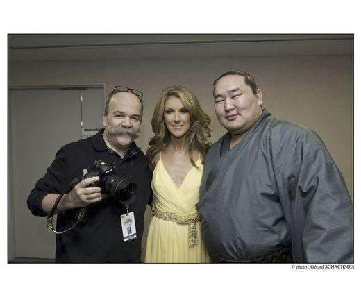 Gérard Schachmes, Céline Dion, Yokozuna Asashoryu (© Gérard Schachmes)