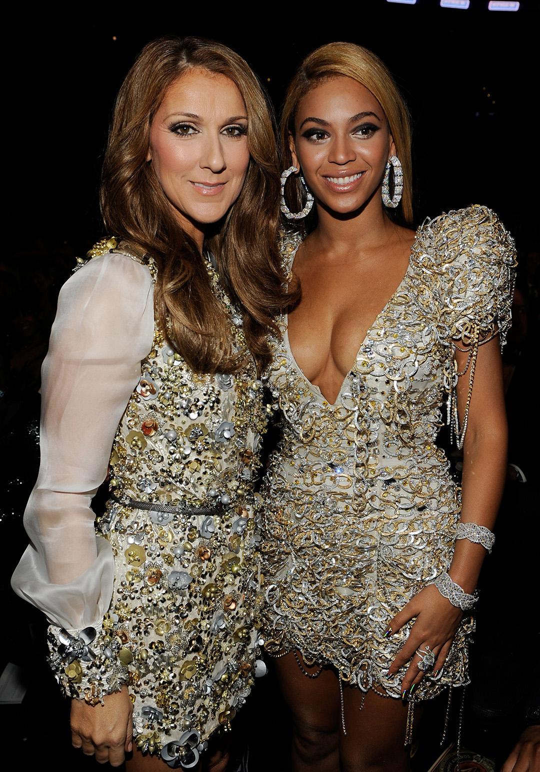 Céline Dion, Beyoncé Knowles (© Larry Busacca/Getty Images North America)