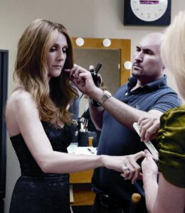 Celine gets the beauty treatment with hairstylist Serge Normant and manicurist Jessica Peterson (© Denise Truscello)