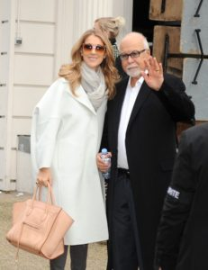 """Céline Dion and Rene Angelil leaving the George V hotel to go to the taping of the television special """"Vivement Dimanche"""" (© PacificCoastNews.com)"""