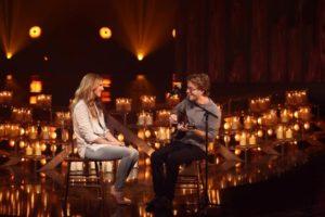 "Celine singing ""Mille après mille""  with Fred Pellerin on the set of 'Céline Dion… Sans attendre' (© OSA Images)"