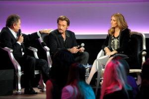 Michel Drucker, Johnny Hallyday, Céline Dion (© Photo Collaboration spéciale, Marc CHAUMEIL)