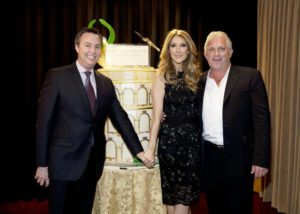 H.C. Rowe, of AEG and executive director of The Colosseum; Céline Dion; and John Meglen, AEG president and co-CEO, celebrate the 10th anniversary of The Colosseum at Caesars Palace on Saturday, March 16, 2013. (© Denise Truscello/WireImage/DeniseTruscello.net)