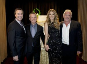H.C. Rowe, of AEG and executive director of The Colosseum; John Nelson, AEG vice president; Céline Dion; and John Meglen, AEG president and co-CEO, celebrate the 10th anniversary of The Colosseum at Caesars Palace on Saturday, March 16, 2013. (© Denise Truscello/WireImage/DeniseTruscello.net)