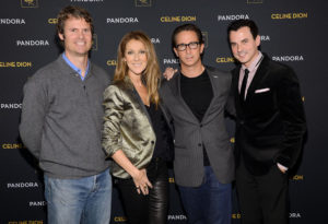Tim Westergren, Céline Dion, Joel Klaiman and Tommy Page (© Larry Busacca/Getty Images North America)